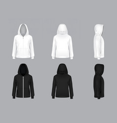 realistic white and black hoodie models vector image