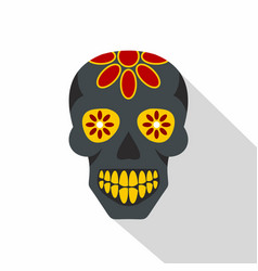 sugar skull flowers on the skull icon flat style vector image