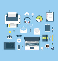 Top view office table vector image vector image