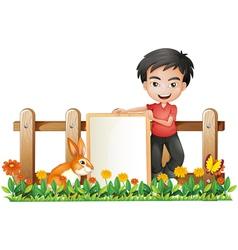 A boy and a bunny vector image vector image