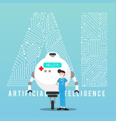 ai robot and doctor with design vector image vector image