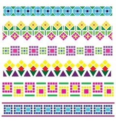 borders with geometrical flowers vector image vector image