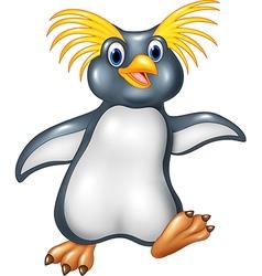 Cartoon funny penguin rockhopper vector image vector image