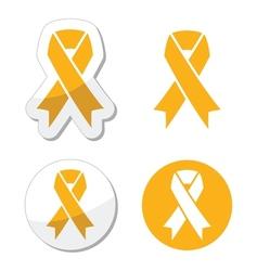 Gold ribbon - childhood cancer symbol vector image vector image