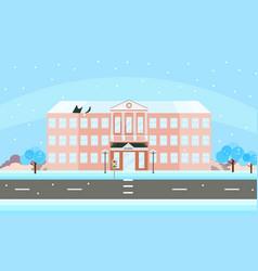 school building facade in winter time vector image vector image
