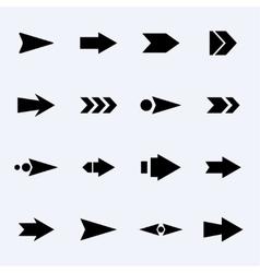 set of black arrows on a light background vector image