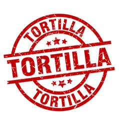 tortilla round red grunge stamp vector image vector image