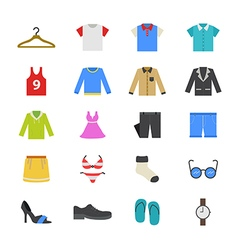 Cloth and Accessory Flat Color Icons vector image vector image