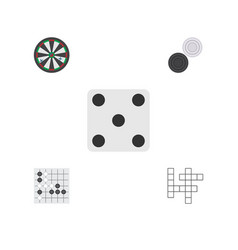 flat icon play set of chequer backgammon gomoku vector image
