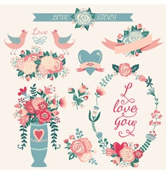 Hand drawn wedding collection vector image