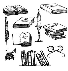 old book set vector image