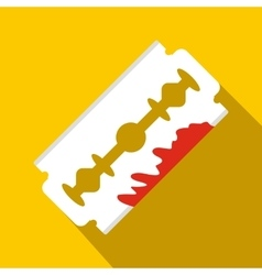 Razor blade with blood icon flat style vector image