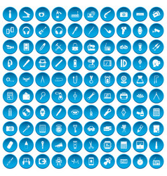 100 portable icons set blue vector
