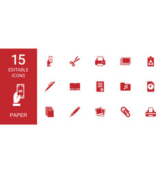 15 paper icons vector image
