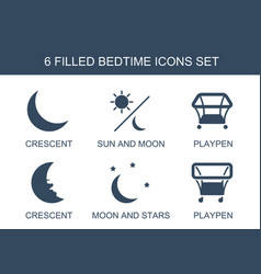 6 bedtime icons vector