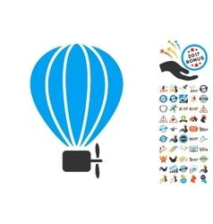 Aerostat Balloon Icon With 2017 Year Bonus Symbols vector