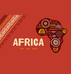 Africa patterned map banner with tribal vector
