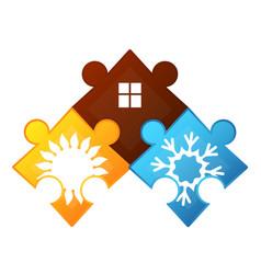 air conditioner puzzles symbol vector image