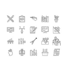 Art craft supplies line icons signs set vector