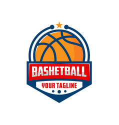 basketball emblem logo design template vector image