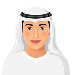 Beautiful young saudi arab man in traditional vector