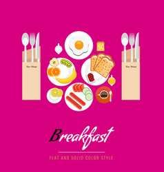 breakfast concept with food and drinks top view on vector image