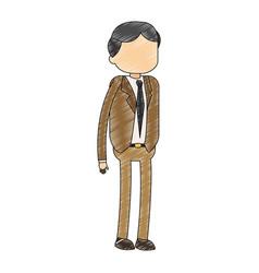 Businessman executive cartoon scribble vector