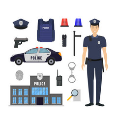 cartoon color policeman and police elements icon vector image
