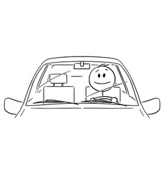 Cartoon happy smiling man or driver driving a vector