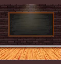 Chalkboard on brickwall in room with wooden floor vector