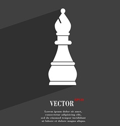 Chess bishop symbol Flat modern web design with vector