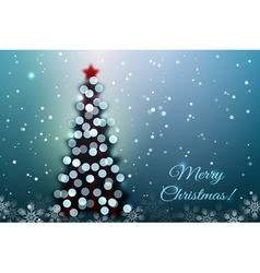Christmas tree with bokeh lights vector image
