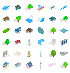 city element icons set isometric style vector image
