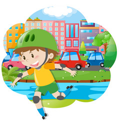 city scene with boy rollerskating vector image
