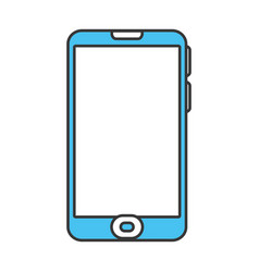 color contour with modern cellphone vector image
