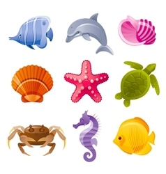 Colorful cartoon icon set of sea animals vector image