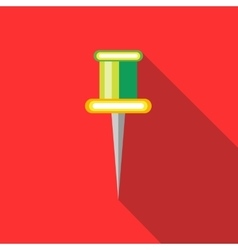 Colorful push pin icon in flat style vector image