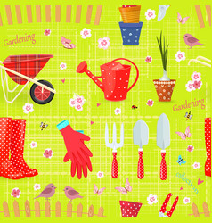 colorful seamless texture with gardening tools vector image