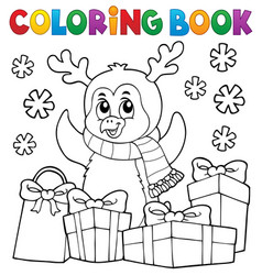 Coloring book christmas penguin topic 5 vector