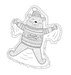 Coloring page adorable brown bear vector