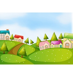 Countryside scene with houses on the hills vector image