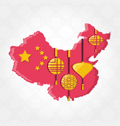 culture china map icons vector image