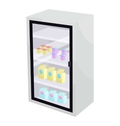 Dairy products in the supermarket fridge icon vector image