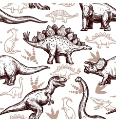 Dinosaurs footprints seamless pattern two-color vector