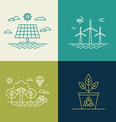 ecology concepts in trendy linear style vector image