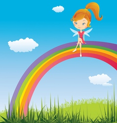 Fairy on a rainbow vector image