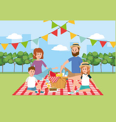 family picnic with basket in the tablecloth vector image