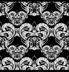 floral black and white damask seamless pattern vector image