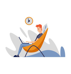 freelance man working at home in comfortable vector image