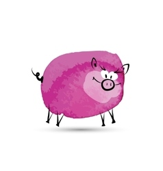Funny pig Watercolor sketch for your design vector image